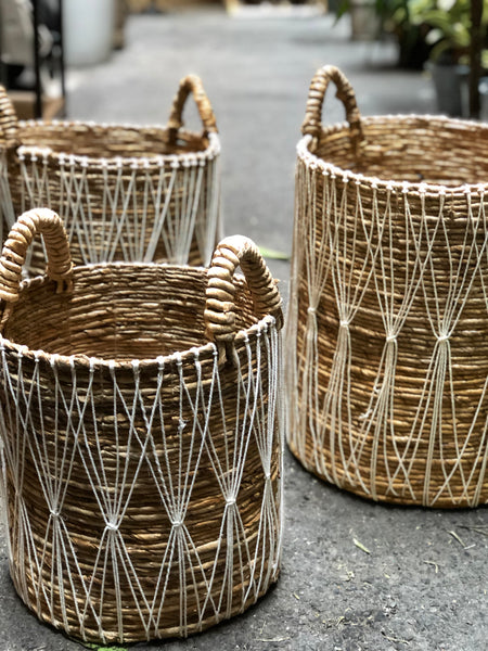 Seagrass Basket Boho white with Handles