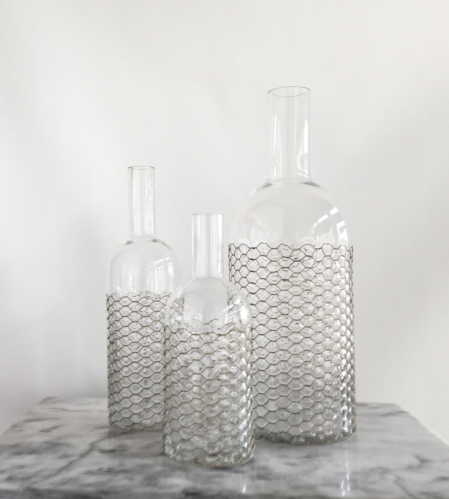 Vase Bottle Shape with Metal Wire
