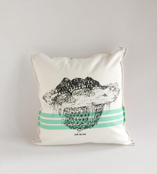 White Cushion Printed Champlain Bridge Montreal Landmark