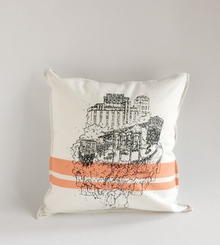White Cushion Printed Five Roses Montreal Landmark