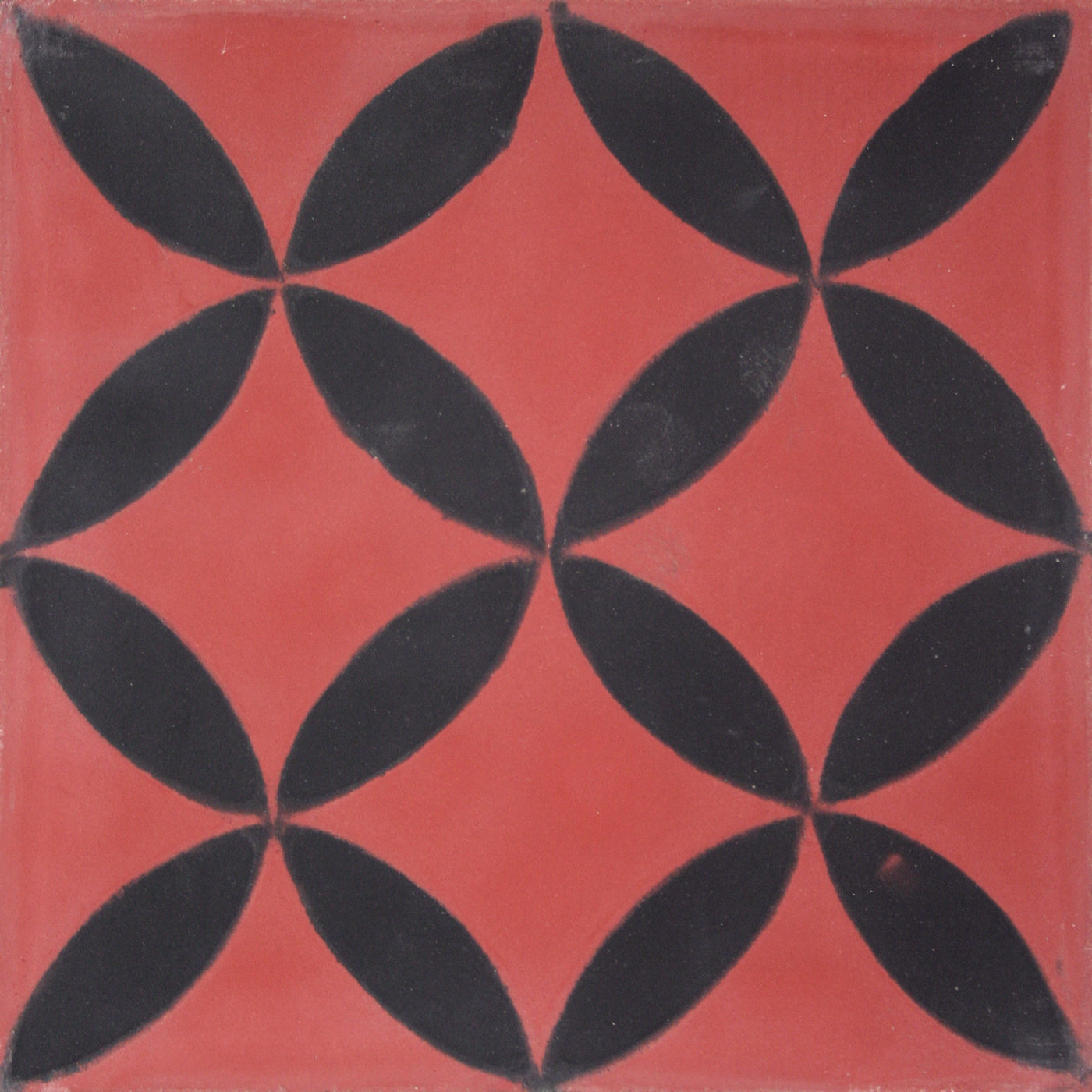 Square cement tile pattern Red/Black