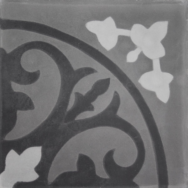 Square cement tile pattern black/dark grey/grey