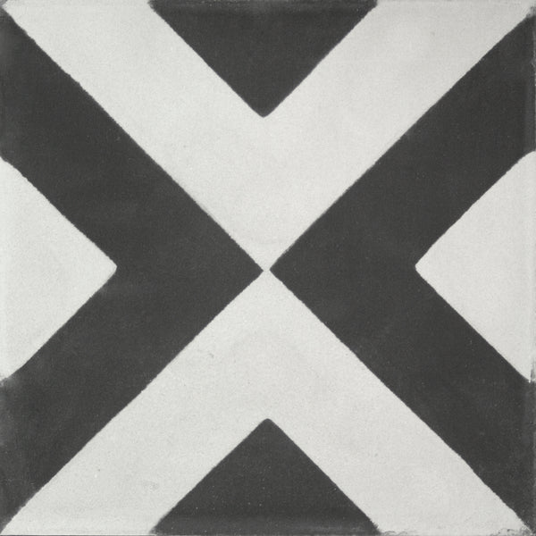 Square cement tile pattern white/black