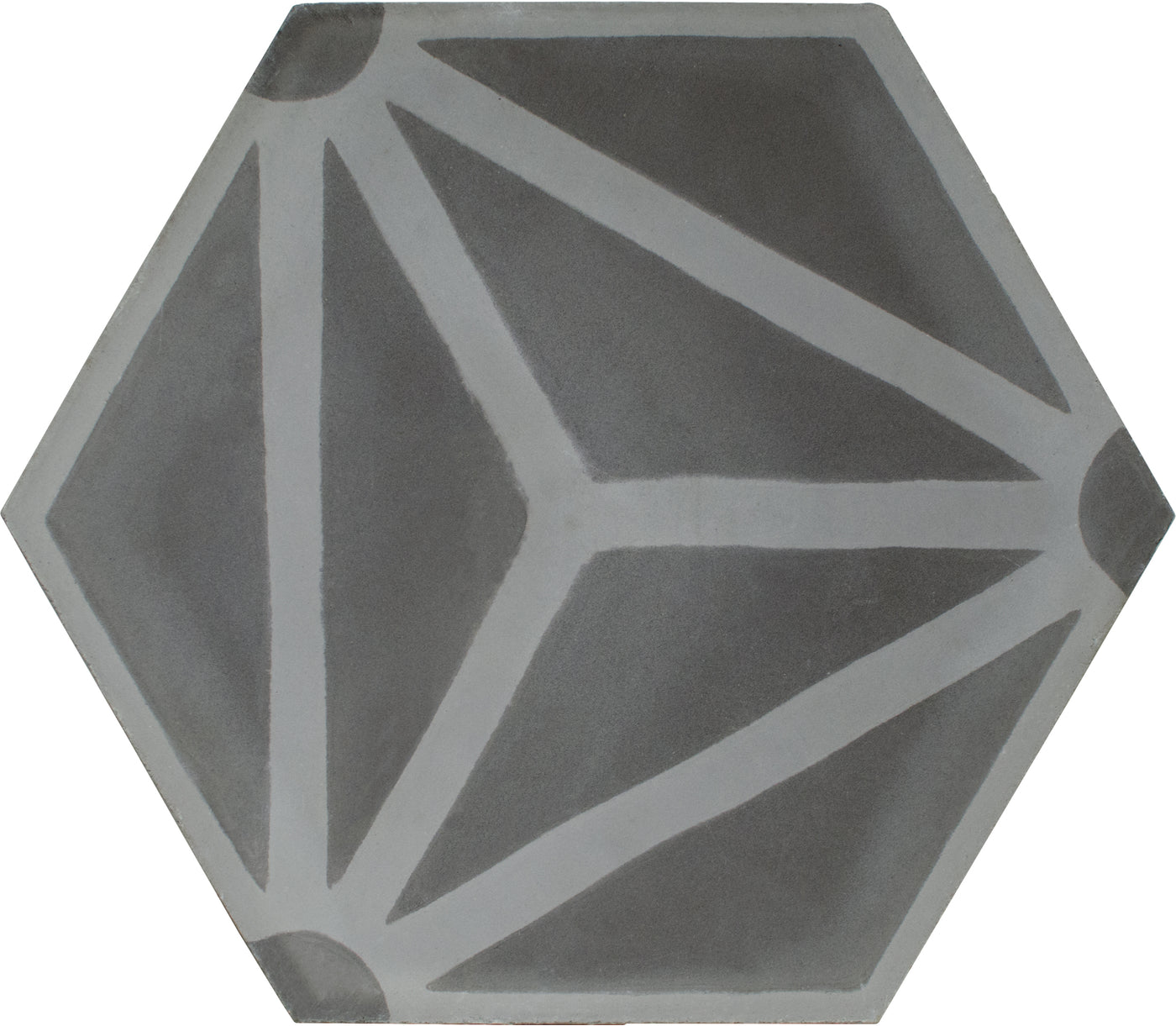 Hexagon cement tile pattern dark grey / grey