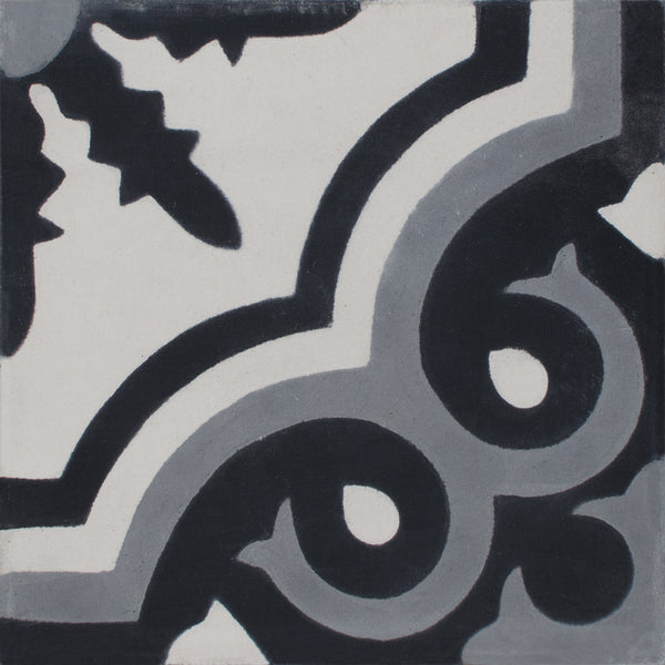 Square cement tile pattern Black/grey/white