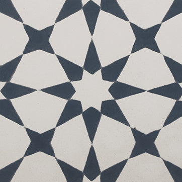 Square cement tile stars pattern White/dark grey