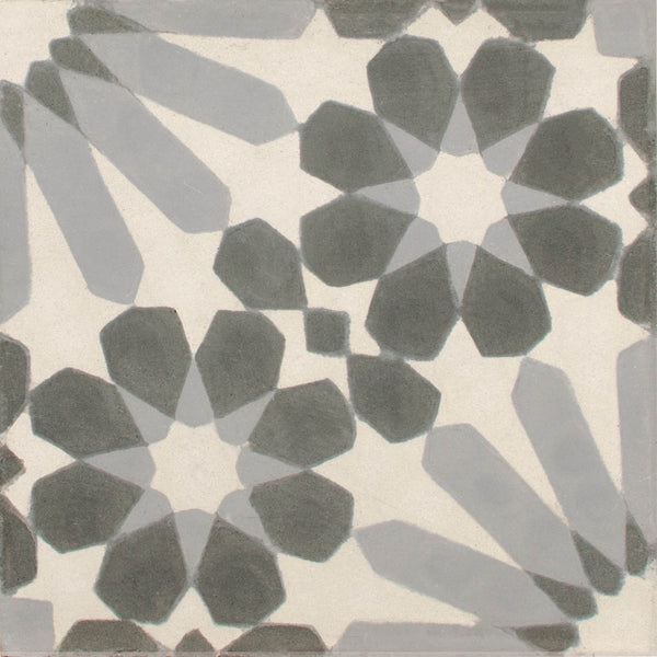 Square cement tile pattern White/grey