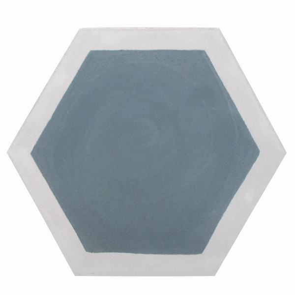 Hexagon cement tile pattern grey/dark grey