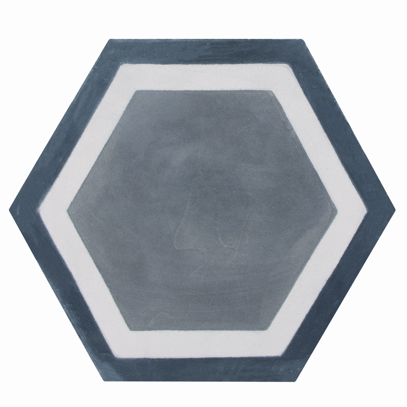 Hexagon cement tile pattern blue/white/grey
