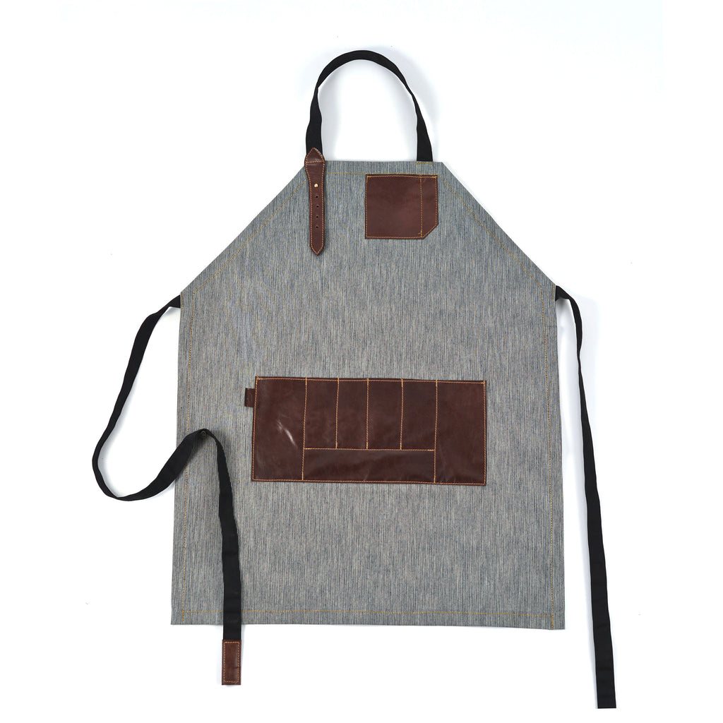 Vintage Style Apron with Adjustable Leather strap + iPhone Leather pocket + Waist Leather pocket