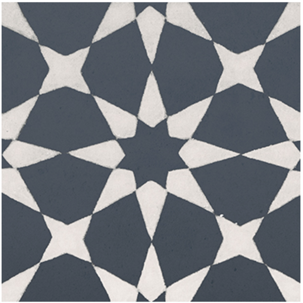 Square cement tile pattern Stars Dark grey / White