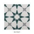 Square cement tile pattern Stars Green / White/ Grey