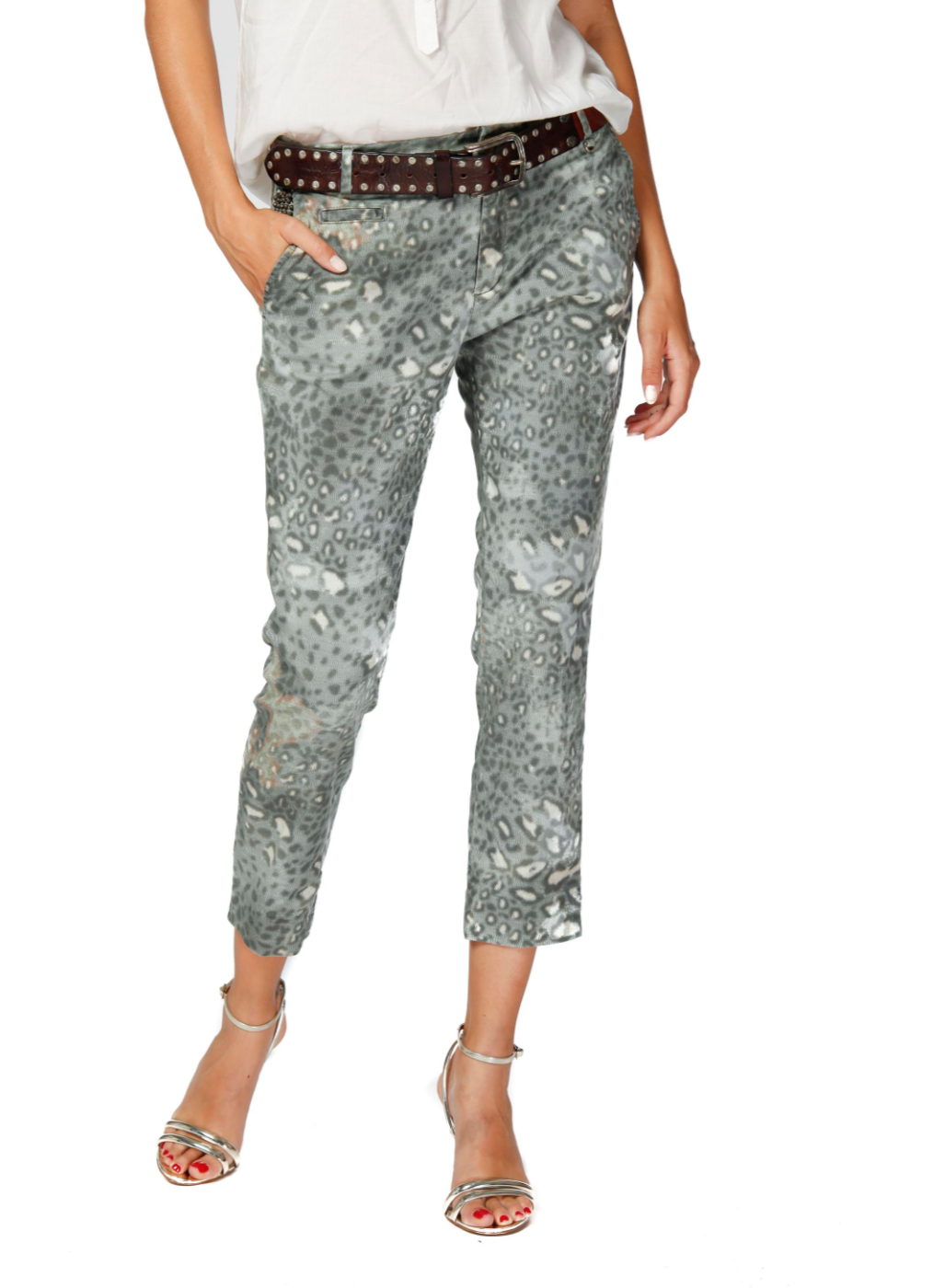 Mason's women Chino Pants model Jacqueline Capri animalier with studs