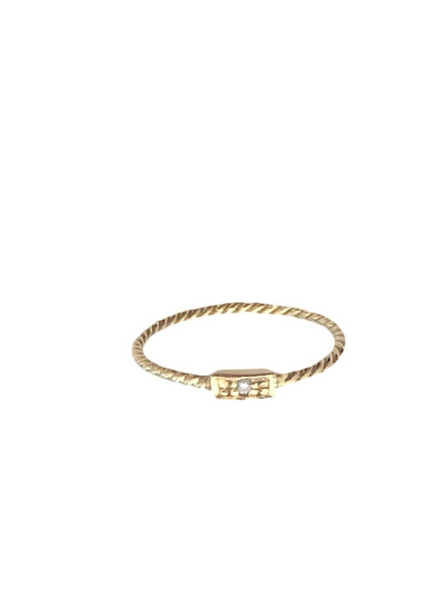 TWISTED RECTANGLE DIAMOND RING  Solid Gold