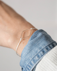 Diamond silver-plated bracelet on a nylon thread