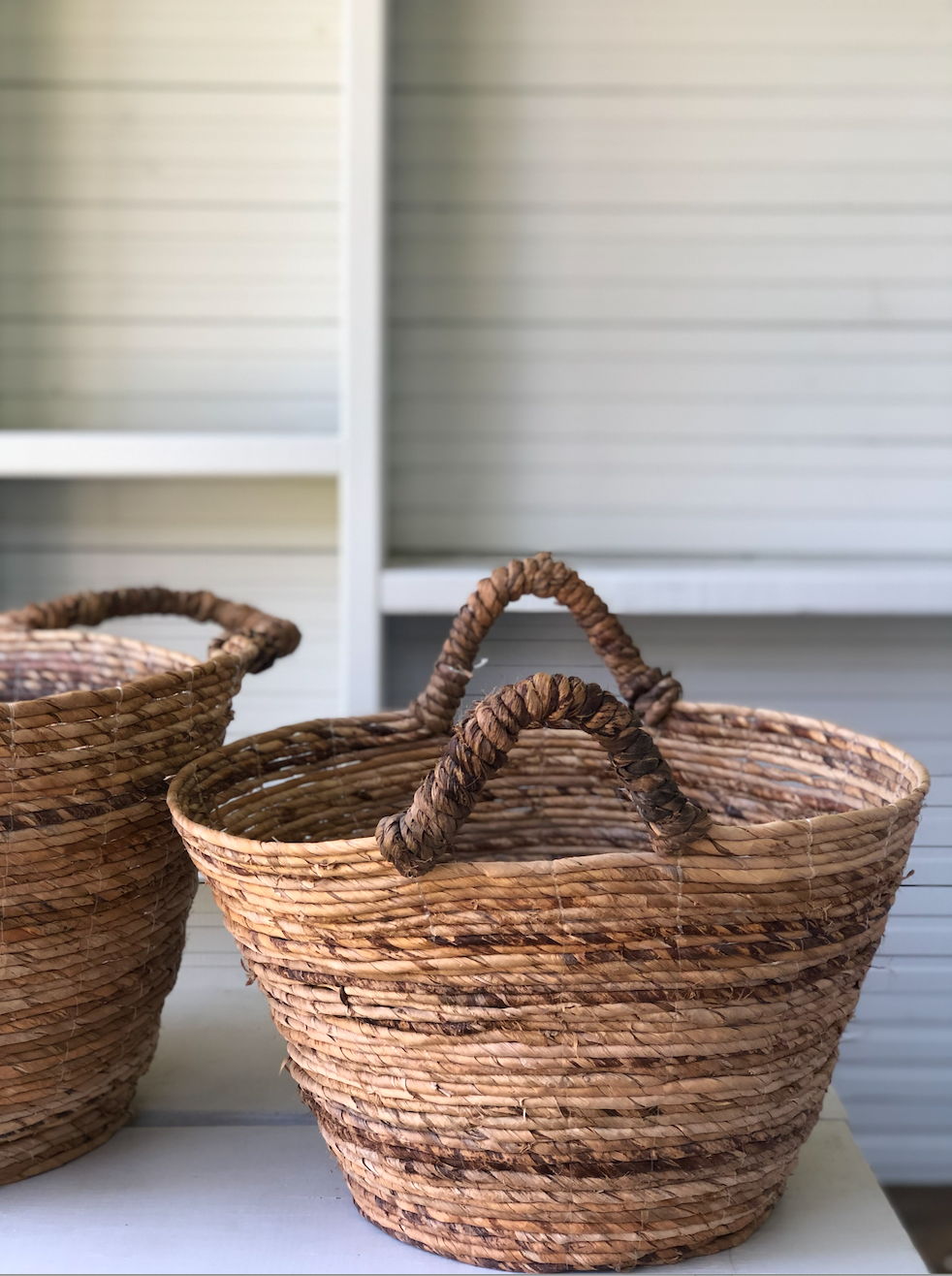 Twisted Banana Leafs Basket with handles