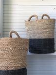 Seagrass Basket Black and Natural with Handles