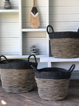 Seagrass Basket Black and Natural stripes with Handles