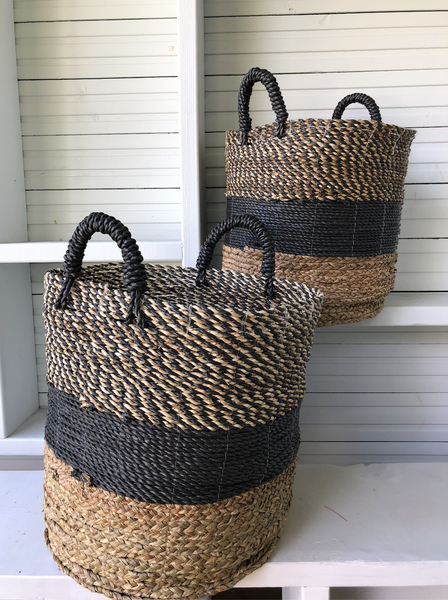 Seagrass Basket Black and Natural large stripes with Handles