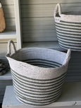 Hand-woven Grey and White Outdoor Rope Basket With Handles