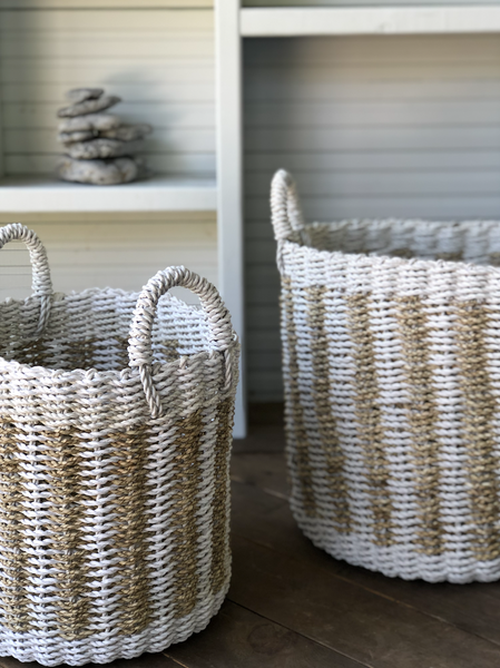 Seagrass Basket White and Natural Vetical stripes with Handles