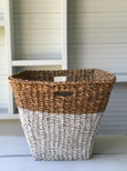 Seagrass Basket White and Natural large with Handles