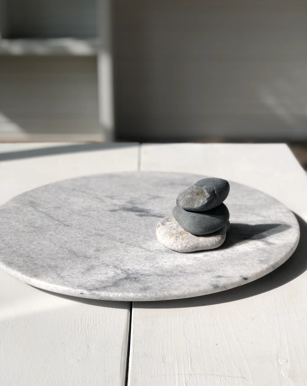 Lazy Suzan Swivel service Plater in marble Bianco Rhino or Granit