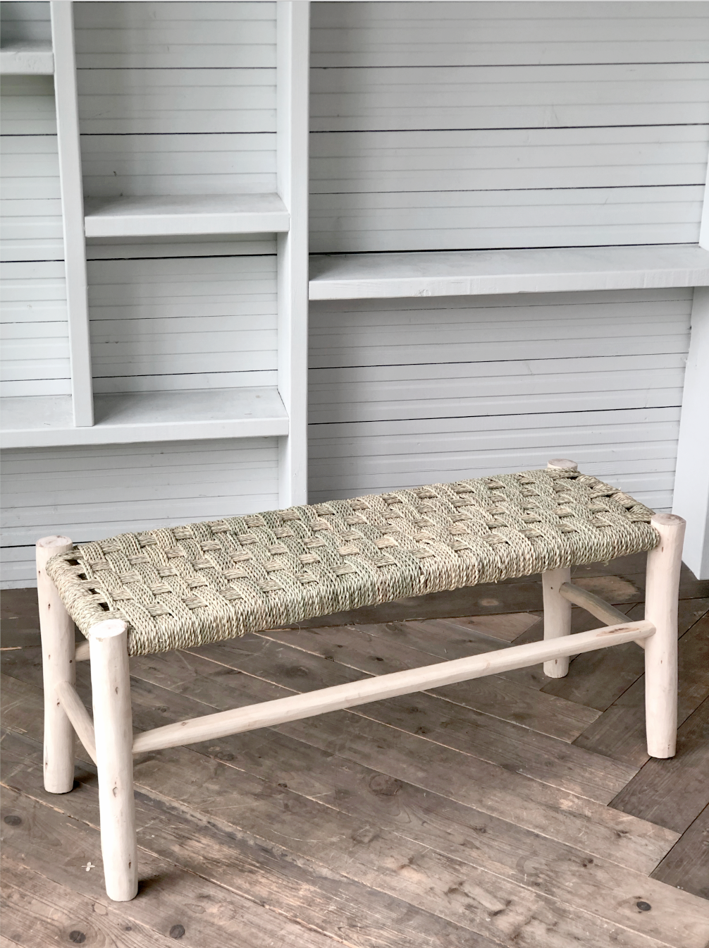 CROSS WOVEN SEAGRASS BENCH | Pre-Order