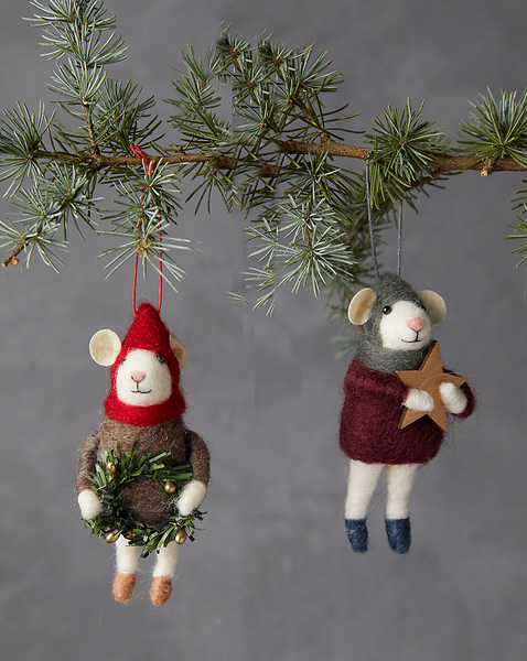 Cozy Mice Felt Ornaments, Set of 2