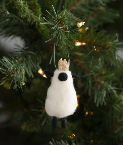 Crown Sheep Felt Ornaments, Set of 2