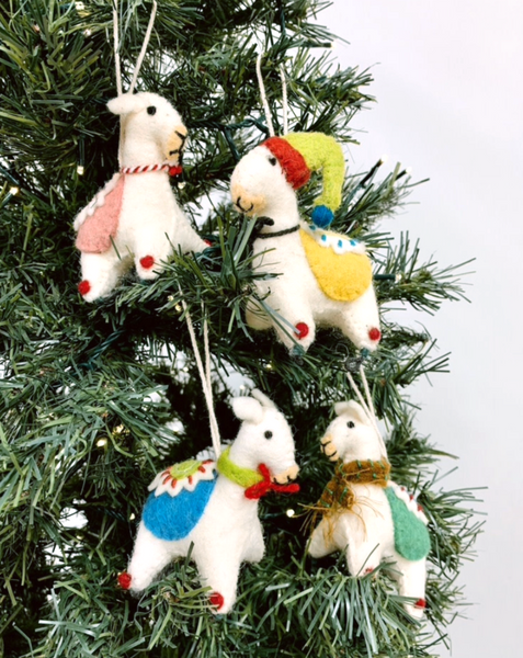 Embroidered Lama Felt Ornaments, Set of 4