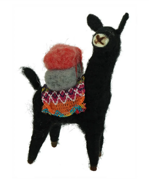 Embroidered  black Lama Felt Ornament