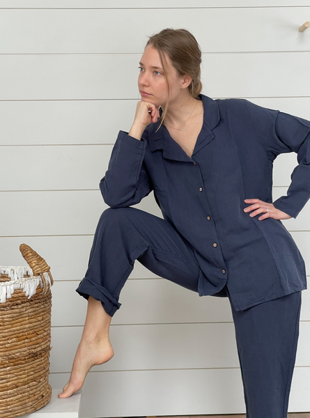 Soft Linen and Stylish Pyjama Navy