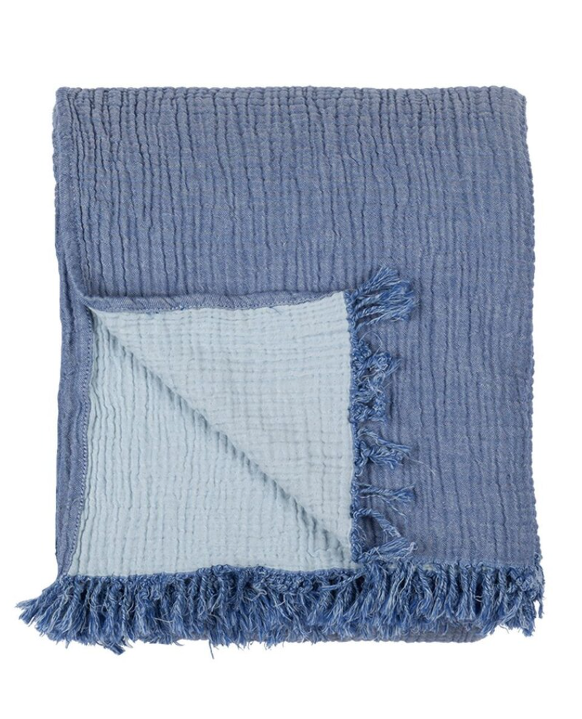 Cocoon Reversible Throw & Blanket  Indigo