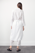 SHIRT-STYLE LINEN COAT in WHITE