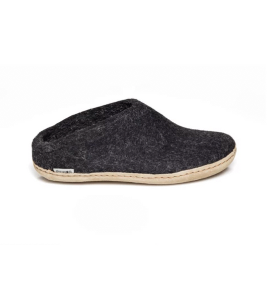 Glerups Charcoal Felt Open Heels Slippers