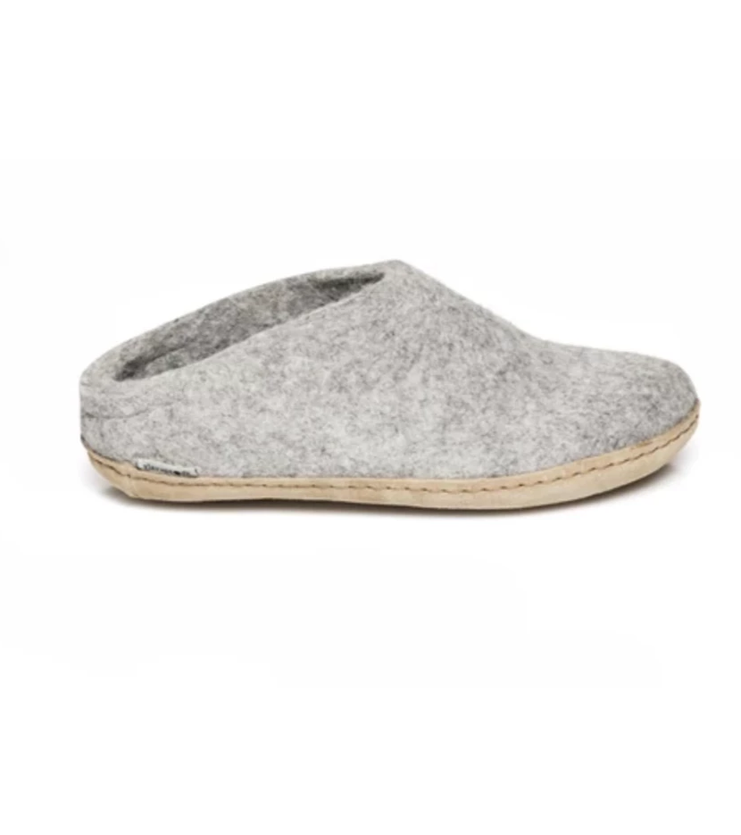 Glerups Grey Felt Open Heels Slippers