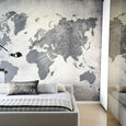 Art World Map Mural Grey