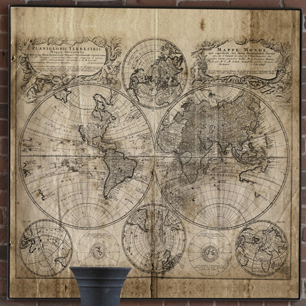 Square Antique World Map on Canvas