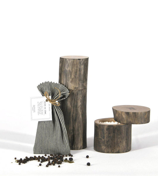 Wood Branch Pepper & Spice Mill + Salt Cellar with the Pepper Cedar Spice ensemble