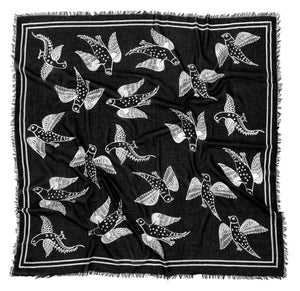 Black and White Birds in Flight Scarf