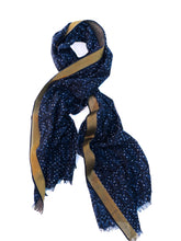 Load image into Gallery viewer, Starry Night Shawl - Indigo and Gold