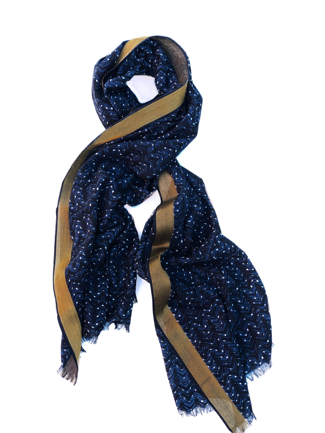 Starry Night Shawl - Indigo and Gold