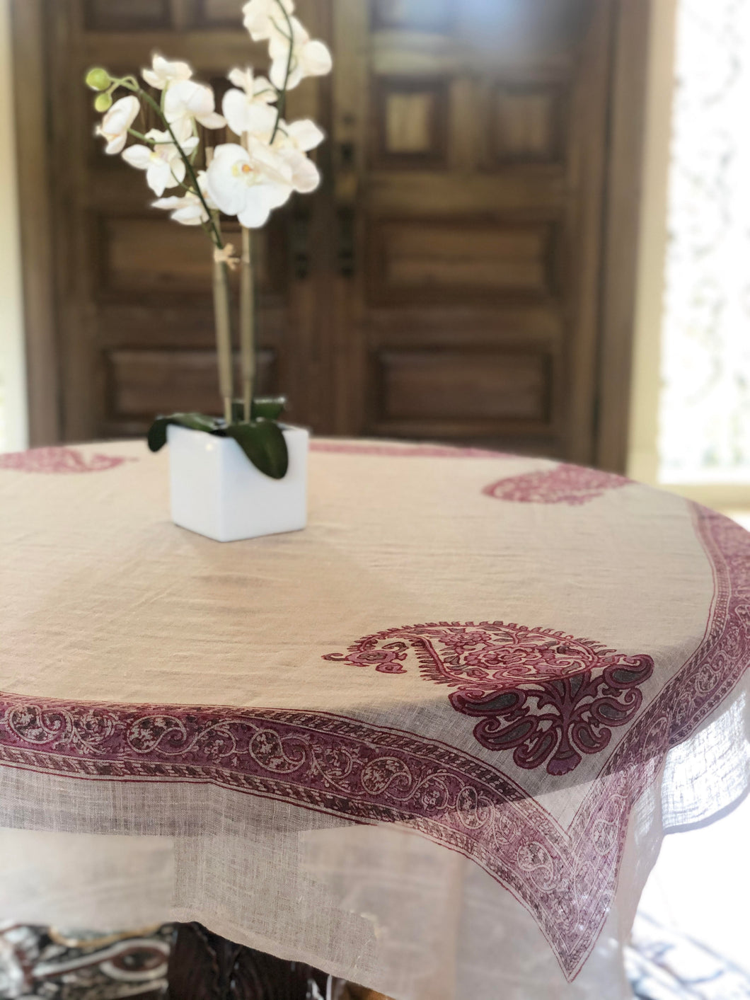 Pink Paisley Block Print Tablecloth