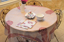 Load image into Gallery viewer, Pink Paisley Block Print Tablecloth