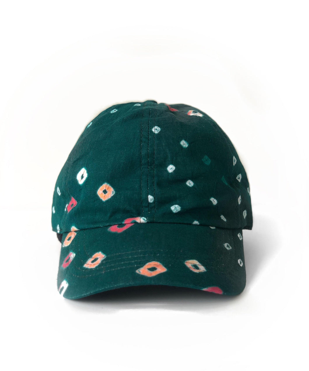Green Bandhani 6-Panel Adjustable Cap