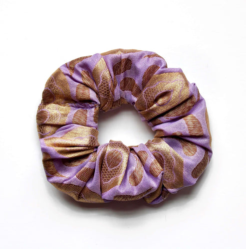 Lavender & Antique Gold Banarasi Brocade Scrunchie