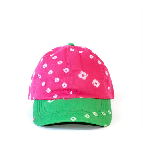 Pink and Green Inshadycompany Bandhani Baseball Cap