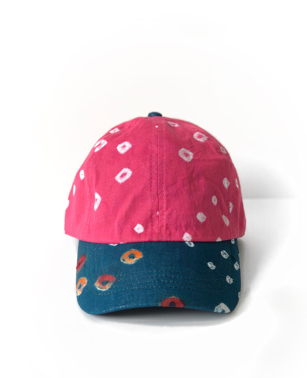 Pink & Blue Bandhani 6-Panel Adjustable Cap