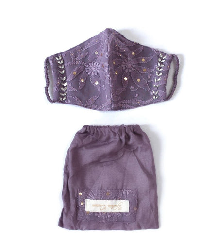 Purple Clay Chikankari Face Mask with Pouch included